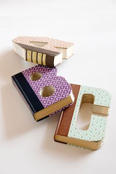 Decorative letters made from old books #home #decor I would rather see books made into letters than dumped into the landfills....