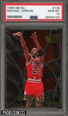5bdf8bda9f1e8d 1996 Fleer Metal  128 Michael Jordan Chicago Bulls HOF PSA 10 GEM MINT   MichaelJordan
