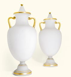 A pair of large opaline glass vases and covers, 19th century   Lot   Sotheby's