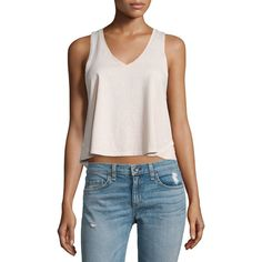 rag & bone/JEAN Audrey V-Neck Cropped Tank (66 AUD) ❤ liked on Polyvore featuring tops, pink, crop top, sweater pullover, pink tank, pink tank top and v-neck pullover