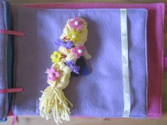 Tangled, hair clips and braiding page. Disney princess quiet book