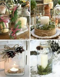 Christmas Mood, Christmas Candles, Rustic Christmas, Christmas And New Year, Christmas Crafts, Christmas Ornaments, Christmas Table Decorations, Holiday Decor, Diy Shops