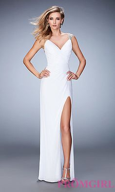 V-neck Open Back Formal Gown by La Femme at PromGirl.com