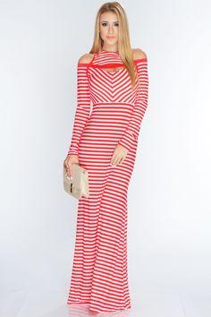 Red White Two Tone Printed Stylish Maxi Dress