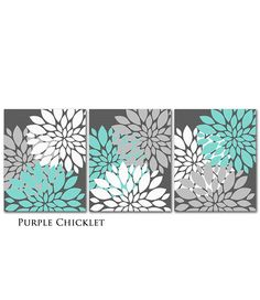 Tiffany Blue Gray White Flower Burst Wall Art Chevron Botanical Art SET of 3 - 8x10 Prints for Girls Nursery Wall Art Gray Bedroom Decor 217...