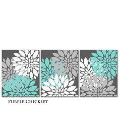 Tiffany Blue Gray White Flower Burst Wall Art Chevron Botanical Art SET of 3 - 8x10 Prints for Girls Nursery Wall Art Gray Bedroom Decor 217...