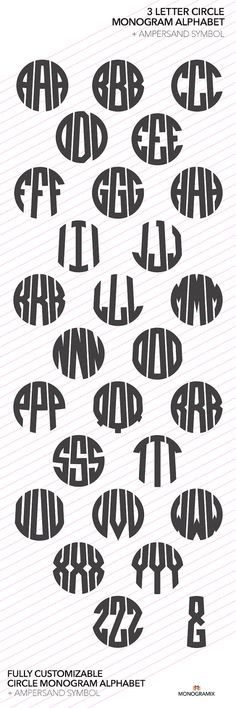 3 Letter Circle Monogram Alphabet Ai EPS SVG DXF by Monogramix