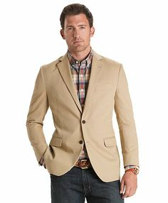 Sharp casual look - tan blazer, blue plaid blazer, jeans | men ...