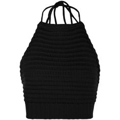 Boohoo Millie Ribbed Crochet Knitted Halter Neck Top ($12) ❤ liked on Polyvore featuring tops, sweaters, rib knit sweater, halter top, nordic sweater, crochet halter top and crochet sweaters