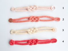 Handmade French Knitted Cotton Button Bracelet with Peach and Raspberry Colored knitting patterns Spool Knitting, Knitting Blogs, Knitting Designs, Knitting Patterns, Crochet Patterns, Bracelet Crochet, Raspberry Color, Jewelry Crafts, Crochet Projects