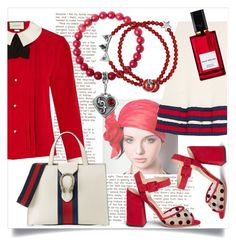 """""""Easy day"""" by ledile ❤ liked on Polyvore featuring Charlotte Olympia, Gucci, Diana Vreeland Parfums, red, charms, ledile and charmsbracelets"""