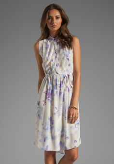 REBECCA TAYLOR Hawaii Dress with Beaded Collar in Cream