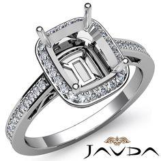 Diamond Engagement Filigree Ring Platinum 950 Cushion Semi Mount Halo Pave 0 5ct | eBay