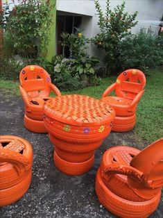 15 budget friendly diy backyard landscaping ideas to inspire you 00007 Tire Furniture, Garden Furniture, Tire Garden, Garden Beds, Tire Art, Smart Home Design, Tire Chairs, Tyres Recycle, Old Tires