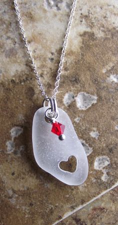 sea glass with hand carved heart