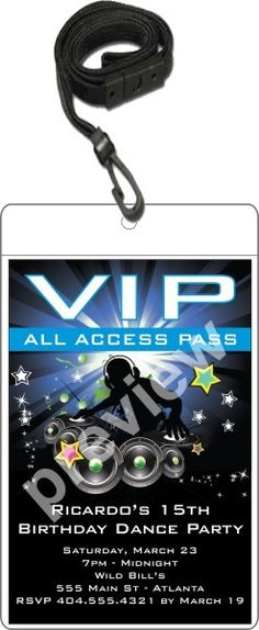 Nightclub DJ Dance Party VIP Pass Invitation w Lanyard - Blue   Get on the dance floor! This hip DJ VIP pass birthday party invitation is the ultimate way to invite friends and family to your dance party! It's a great VIP party invitation for any age - kids, teens and adults. It's also great for large parties at nightclubs! This epically awesome VIP pass party invitation is available in 4 colors. This large size VIP pass features a 4x6 invitation inserted into a clear vinyl pouch. A black…