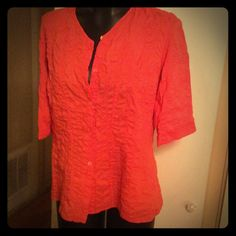 Eileen Fisher pink coral button up blouse top sz S Eileen Fisher 100% cotton RN#78121 CA#34460 size S made in China Eileen Fisher Tops Button Down Shirts