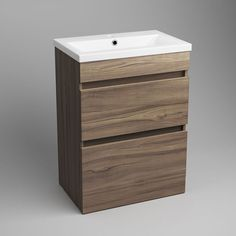 Trent Walnut Effect Double Drawer Basin Cabinet - Floor Standing Basin Cabinet, Colorful Furniture, Bathroom Furniture, Drawers, Flooring, Home Decor, Bliss, Bathrooms, Decoration Home