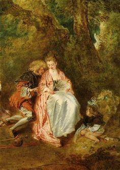 Jean-Antoine Watteau (1684-1721), Pèlerinage à l'île de Cythère (détail) / Pilgrimage to the isle of Cythera (detail) © Musée du Louvre - Christian Jean
