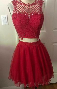 b6d2d6d8d87 Jodi Kristopher Dillards Two Piece Prom Dress Lace Mesh Red NEW size 7 - dillards  dresses