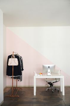 Cupcakes and Cashmere - Split Pink Office Wall & Copper Garnet Rack