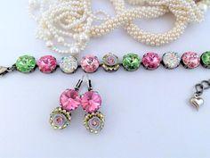 Candlelight And Roses, Swarovski Bracelet, Swarovski Matching Earrings, Bridal, Pink and Green, 12MM, Stunning, DKSJewelrydesigns