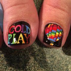 Coldplay nail art (my nail tech is amazing!!). #coldplay #coldplaydallas #coldplaynailart #nailart