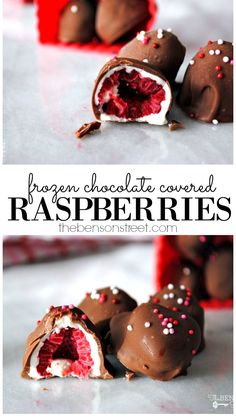 Raspberry Desserts, Köstliche Desserts, Frozen Desserts, Chocolate Desserts, Healthy Desserts, Delicious Desserts, Dessert Recipes, Yummy Food, Frozen Appetizers