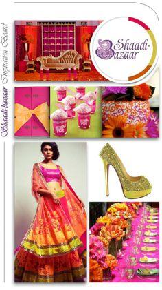 wedding inspiration board, colorful lehenga, south asian bride, indian bridal clothing, table setting, wedding shoes, wedding favors #shaadibazaar