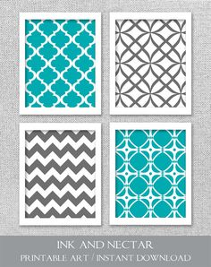 Printable Art Set Turquoise Teal Gray Art by inkandnectardigital