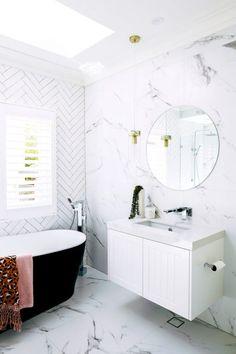Window Covering Ideas For The Latest Bathroom Trends - SA Decor & Design Laundry In Bathroom, Simple Bathroom, Master Bathroom, Washroom, Mirror Bathroom, Bathroom Cabinets, White Bathroom, Bad Inspiration, Bathroom Inspiration