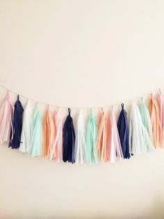 Navy Blue And Peach Tel Garland Party Decor Birthday Wedding Baby Shower Photo Prop