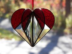 Stained Glass Suncatcher Heart Red by ChapmanStainedGlass on Etsy