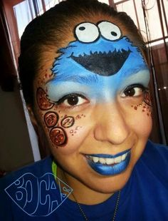 Face paint Cookie Monster Sesame Street half face