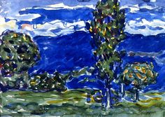 1910-14c Blue Landscape watercolour 26.7 x 38.1 cm.jpg 1,066×755 pixels