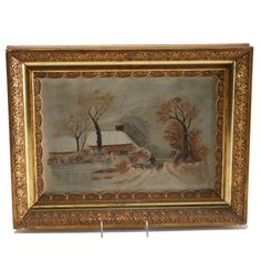 Unattributed folk art painting in ornate 19th century frame