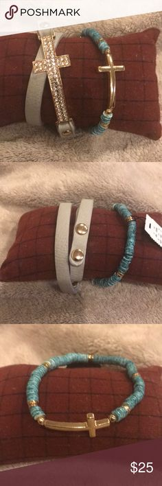2 Cross Bracelets Blu/Greenish Genuine Shell with the gold cross is a stretch band. NWT. Bling Cross double wrap Grey Leather Snap Closure Bracelet. All Crystals are attach. Never Worn. Both are in excellent condition. Beauties for sure. Accessories