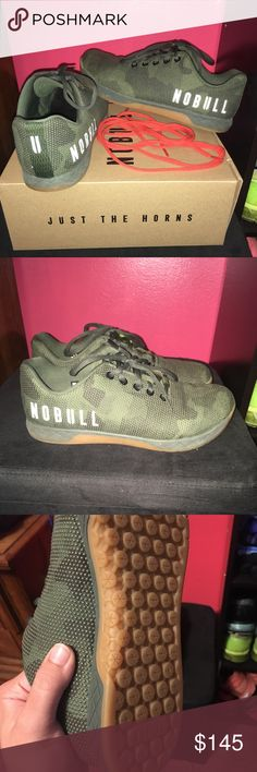 No Bull Trainers Army Camo LIMITED And DISCONTINUED Army Camo NoBull trainers! Excellent used condition - women's size 10.5 (men's 9) Wore a handful of times but they're a little too big. I'm a true 10.5 and these fit more like an women's 11 (men's 9.5) 💥Comes with box and spare orange laces💥 These are discontinued and like new so no low ball offers 💚 NoBull Project Shoes Athletic Shoes