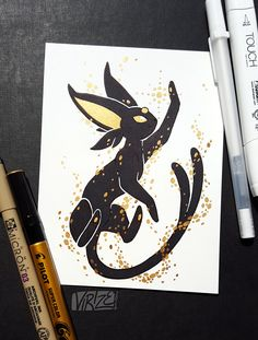 Tagged with Pokemon; If you remember the Black and Gold Vaporeon I drew a couple months ago, here's the rest of the Eeveelutions in the same style! Pokemon Eeveelutions, Eevee Evolutions, O Pokemon, Pokemon Fan Art, Pokemon Fusion, Umbreon And Espeon, Pikachu, Pokemon Mignon, Pokemon Tattoo