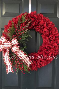 Red Ruffled Burlap Christmas Wreath with Merry Christmas Ribbon, Christmas Burlap Wreath, Burlap Ruffle Wreath, Red Burlap Wreath - New Ideas Christmas Mesh Wreaths, Burlap Christmas, Christmas Crafts, Christmas Decorations, Winter Wreaths, Christmas Ideas, Christmas Christmas, Spring Wreaths, Christmas Quotes