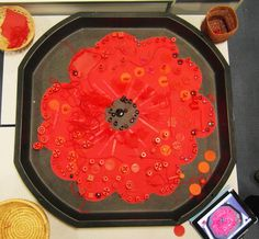 Lovely transient art idea from Sacks-n-stories. Poppy cut from paper. Lovely transient art idea from Remembrance Day Activities, Remembrance Day Poppy, Sunday Activities, Nursery Activities, Poppy Craft For Kids, Outdoor Nursery, Tuff Spot, Creative Area, Armistice Day