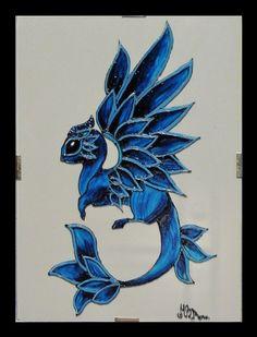 Drago blu - Dipinto a mano su vetro 13x18 cm