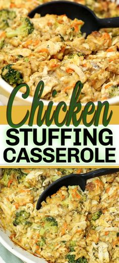 casserole recipes This CHICKEN STUFFING CASSEROLE recipe is a hassle-free delicious 45 minute casserole dish. With chicken, stuffing, broccoli and a few other simple ingredients - its so comforting and uses up those holiday leftovers. Chicken Stuffing Casserole, Stuffing Recipes, Stuffing For Chicken, Simple Chicken Casserole, Leftover Chicken Casserole, Best Stuffing Recipe, Meatloaf Recipes, Dinner Casserole Recipes, Casserole Dishes