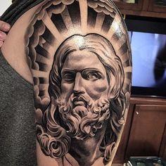 Jesus Tattoos - Tons of Jesus Tattoo Designs & Ideas - Tattoo Me Now Jesus Tattoo On Arm, Lil B Tattoo, Jesus Tattoo Sleeve, Jesus Tattoo Design, Mary Tattoo, Christ Tattoo, Tattoo Design Drawings, Sleeve Tattoos, Tattoo Designs