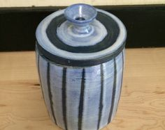 Blue and White Striped Canister, Handmade Ceramic Jar, from nBaxter Pottery