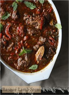 Basque Lamb Stew would be ideal with Txakoli Rojo made with Hondurrabi Beltza. A firm hearty red from Basque, Spain Stew Meat Recipes, Lamb Recipes, Whole Food Recipes, Cooking Recipes, Healthy Recipes, Chilli Recipes, Idaho, Basque Food, Lamb Dinner