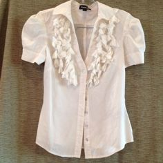 B2G1 FREE...Silk White Bebe Top Buttons up front. Buttons on darted puff sleeves. bebe Tops
