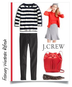 """February Wardrobe Refresh with J.Crew"" by maxfield ❤ liked on Polyvore featuring J.Crew, women's clothing, women, female, woman, misses, juniors, stripes, jcrew and redandblack"