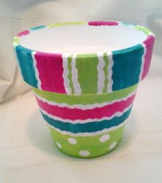 Hand Painted Clay Pot Creative Design Pink Green by PaintedInColor