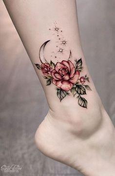 Cool Small Tattoos, Small Tattoo Designs, Flower Tattoo Designs, Tattoo Designs For Women, Tattoos For Women Small, Tattoo Flowers, Awesome Tattoos, Tattoo Ideas Flower, Rose Tattoos For Women